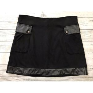Cato A Line Stretch Skirt With Faux Leather Detail